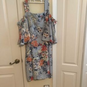 Taylor light blue floral cold shoulder dress sz 18